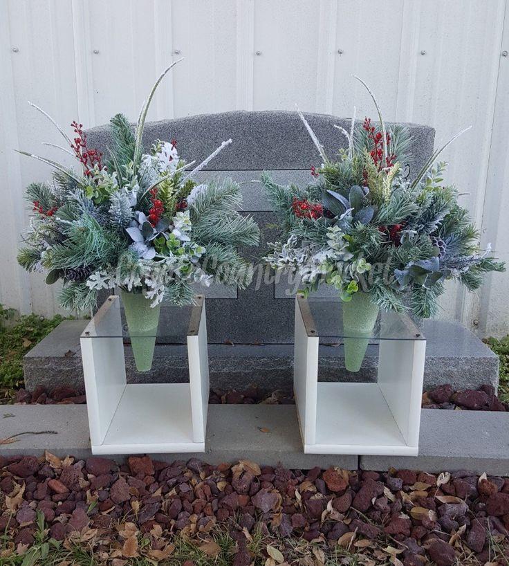 winter cemetery permanent vase flowers flowers for grave