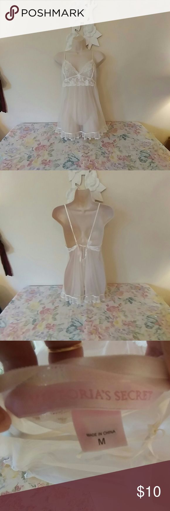Victoria's Secret sheer lace babydoll nightie Victoria's Secret sheer white lace babydoll nightie, good for a bride on her honeymoon, ties In back, size medium, great condition, no flaws.  Bundle this with any other item priced $10 and get them both for $15 (or bundle with 2 more $10 items and get all 3 for $20).  Just bundle and use the offer button!  Price firm unless bundled. Thanks! Victoria's Secret Intimates & Sleepwear