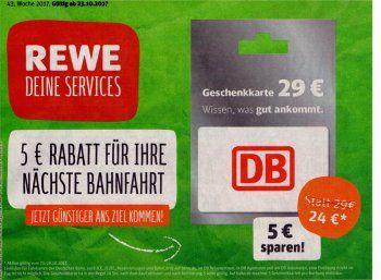 Rewe: Fünf Euro Bahn-Rabatt via Geschenkekarte https://www.discountfan.de/artikel/reisen_und_bildung/rewe-fuenf-euro-bahn-rabatt-via-geschenkekarte.php Bei Rewe gibt es ab sofort und nur bis Samstag abend eine Bahn-Geschenkekarte im Wert von 29 Euro für nur 24 Euro. Einlösbar ist der fünf Jahre gültige Coupon im Internet und in DB-Zentren vor Ort, nicht aber im Zug selbst. Rewe: Fünf Euro Bahn-Rabatt via Geschenkekarte (Scan:... #Bahn, #Bahnfart, #Zug