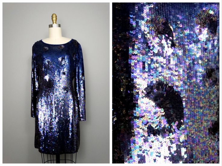 VTG Neil Bieff Blue Sequin Dress // Navy and Black Polka Dot Sequined Dress // Fully Embellished Ombre Mini Dress by braxae on Etsy