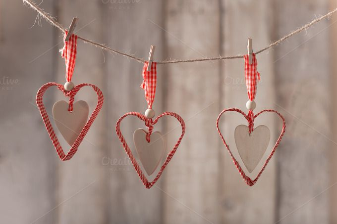 Red hearts hanging by peterzsuzsa on Creative Market