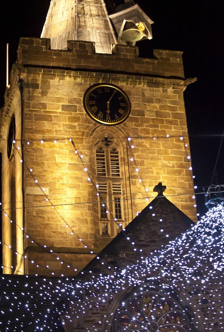 Town Church amongst the Christmas lights, Guernsey