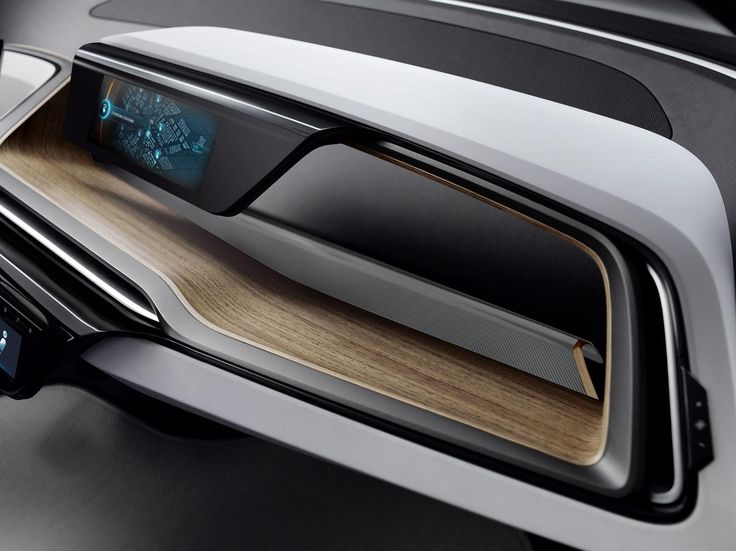 BMW i3 concept interior car detail display wood black dynamic surface flow continuity white blue tablier