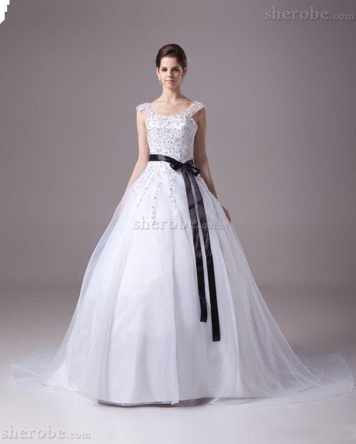 Robe de mariée majestueux de mode de bal en organza avec ruban satin extensible - Photo 1