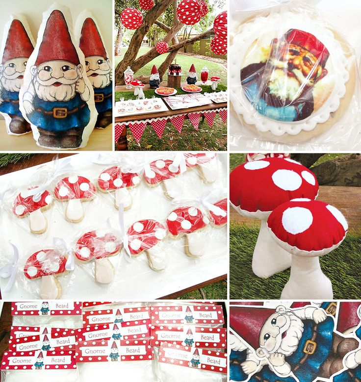 Looking for creative theme inspiration? Then you gotta see this Cute Garden Gnome First Birthday Party with bright polka dot decorations + lots of toadstools!