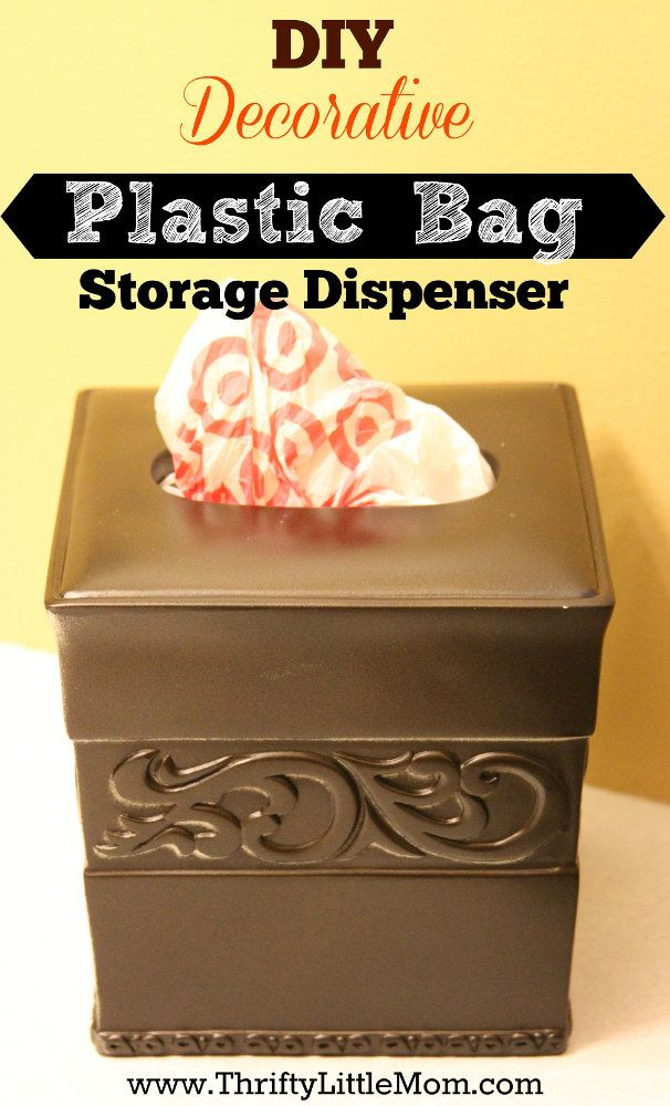 DIY Decorative Plastic Bag Dispenser- You can finally keep your plastic bags out & within reach by making your own decorative dispenser from materials at garage sales and thrift stores!