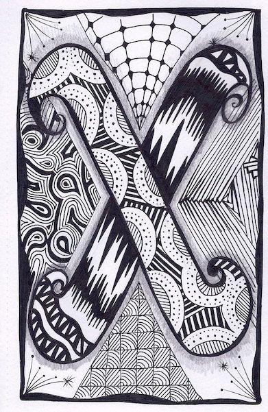 Zentangle, Letter X, Zebra Letters, name, bunting, alphabet. £3.50, via Etsy.