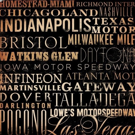 NASCAR race tracks typography orginal graphic art by geministudio, $120.00
