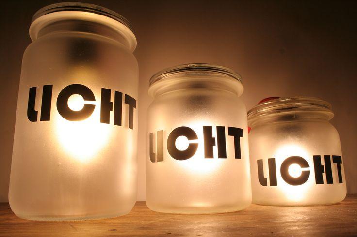 """Lampe """"Wecklicht"""" aus Einmachgläsern. #upcycling #DIY"""