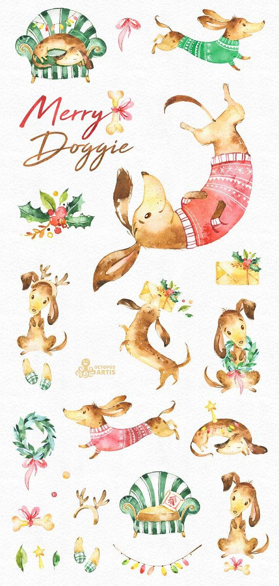 This set of 23 high quality hand painted watercolor dog and other graphics. Perfect graphic for Christmas project, greeting cards, photos, posters, quotes and more.  -----------------------------------------------------------------  INSTANT DOWNLOAD Once payment is cleared, you can download your files directly from your Etsy account.  -----------------------------------------------------------------  This listing includes:  23 x Images in PNG with transparent background, different size…