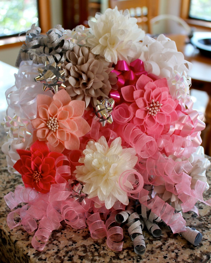 Custom bow bouquet for rehearsal dinner or wedding. $25.00 USD, via Etsy.