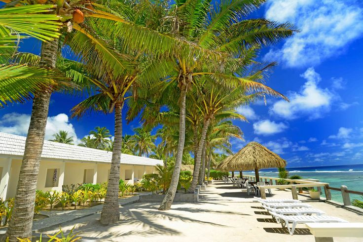 Beautiful deck view of Club Raro, in the cook islands!