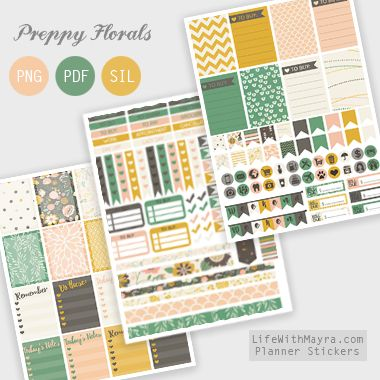 Free Printable Preppy Floral Planner Stickers {PDF, PNG and Silhouette files} from lifewithmayra