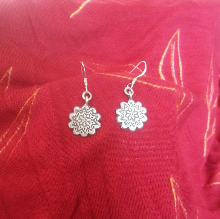 silver flower mural earrings