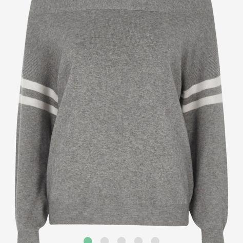 Grey stripe sleeve knitted bardot top - river island €47