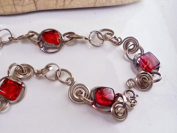 """Red glass and silver necklaceartisan jewel by DartisanglassUSEcode""""PINTERESTFRIEND""""!!-20%until31march! ENJOY!"""