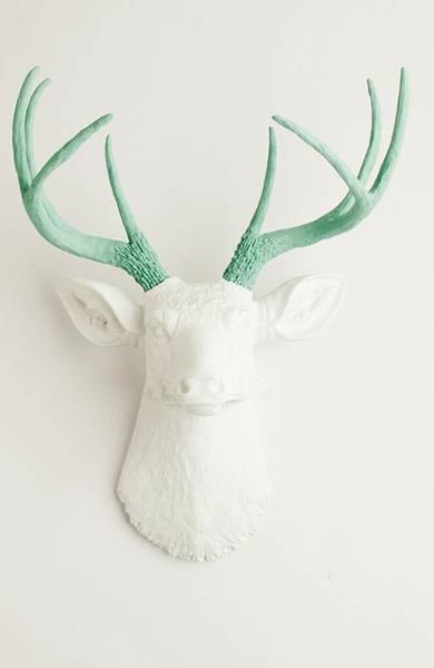 The Isabella   Stag Deer Head   Faux Taxidermy   White w/ Seafoam Green Antlers