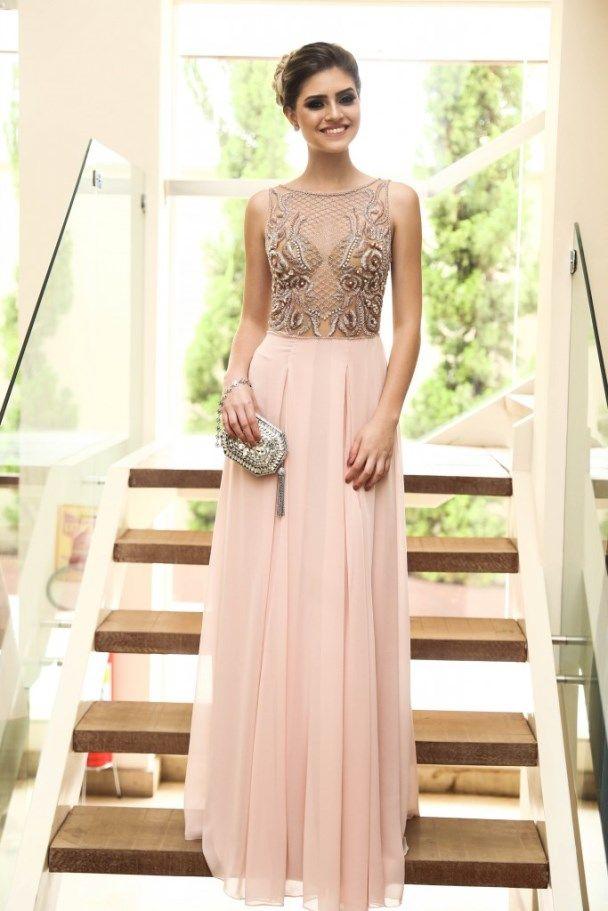 vestido de madrinha rosa claro