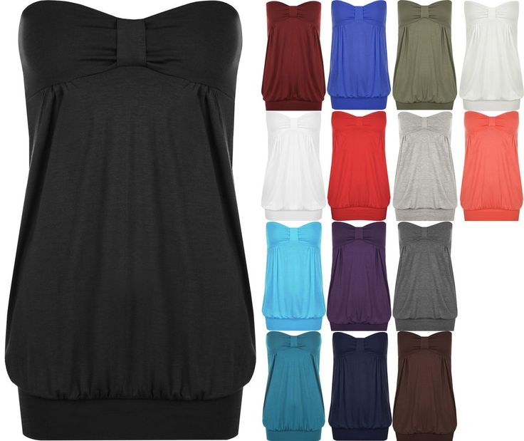 New Plus Size Womens Plain Strapless Ladies Long Bandeau Boob Tube Top in Clothing, Shoes & Accessories, Women's Clothing, Tops & Blouses | eBay