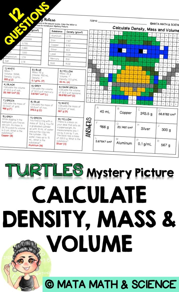 Calculate Density, Mass and Volume: Science Mystery Picture | Best ...