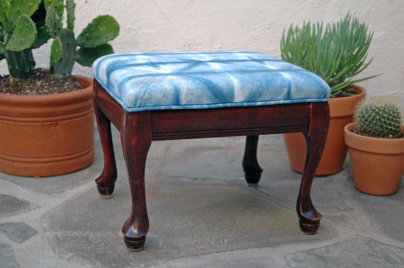 Small footstool with Hand Dyed Indigo by territoryhomegoods