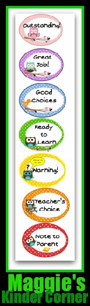 photo of: Maggie's Kinder Corner Behavior Chart with Owls: (Behavior Chart RoundUP via RainbowsWIthinReach)