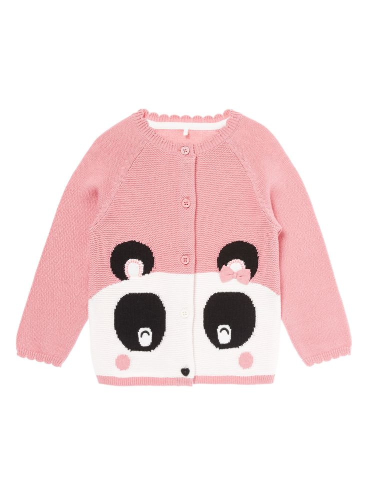 Add a fun and unique twist to their collection with this novelty cardigan, designed with a knitted image of a panda and bow detail. < Pink panda novelty cardigan Pure cotton Panda knit Scalloped trim Bow detail Keep away from fire<