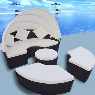 2-in-1 Rattan Lounger Set Outdoor Round Sun Bed with Canopy Black | Beds | Gumtree Australia Hornsby Area - Mount Kuring-gai | 1132853810