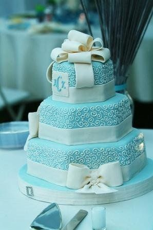 tiffany blue cake! would want bride/groom om the second layer instead of monogram