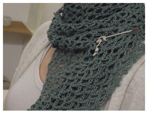 ストール(ネット編み)の無料編み図
