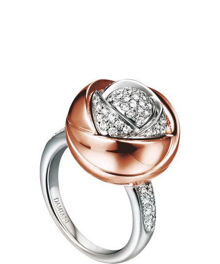 DAMIANI - Colección BOCCIOLO - Anillo de oro blanco, rosa y diamantes