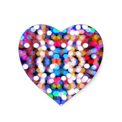 Colourful Bokeh Blurred Light Abstract Pattern Heart Sticker - christmas stickers xmas eve custom holiday merry christmas