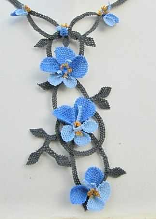 Blue Crochet flower necklaceBlue Pansies by needlecrochet on Etsy, $60.00  very delicate