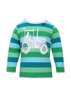 Danefæ t-shirt med blå og grønne striber og stort traktor print! Vejl. pris 199,-