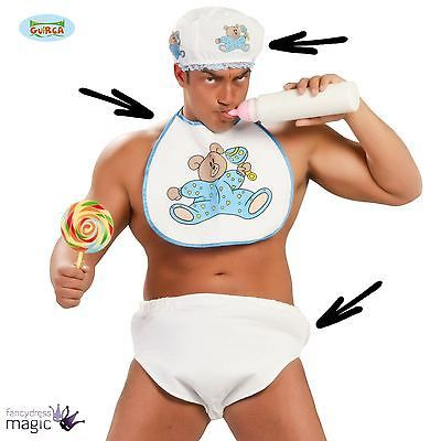 #Adult mens baby #nappy diaper bonnet hat and bib stag fancy #dress costume set k, View more on the LINK: http://www.zeppy.io/product/gb/2/191977536000/