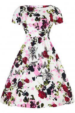 Lady Vintage Eloise Biele Kvetinové Šaty
