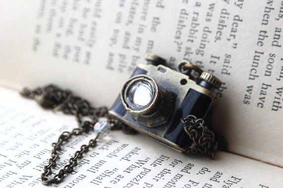 Camera locket necklace.