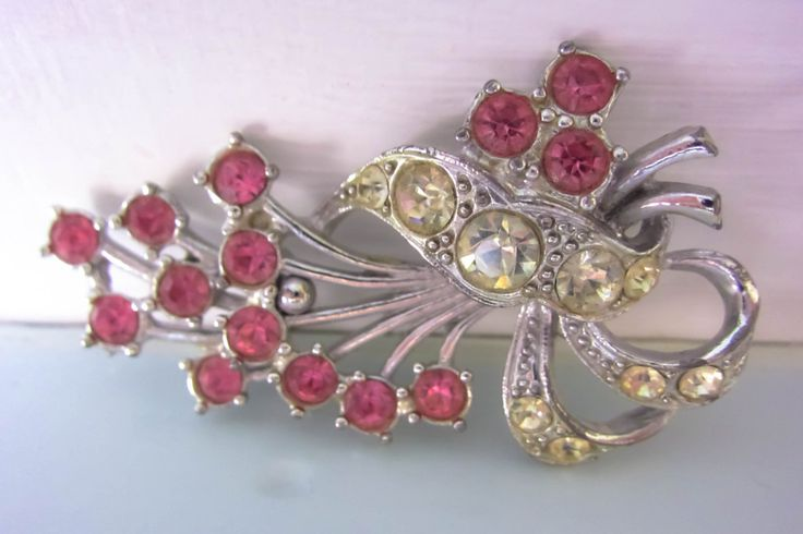 Vintage brooch, pink flower brooch, Art deco style brooch, Pink rhinestone brooch, Pink flower pin, gift for women, gift for her, birthday by thevintagemagpie01 on Etsy