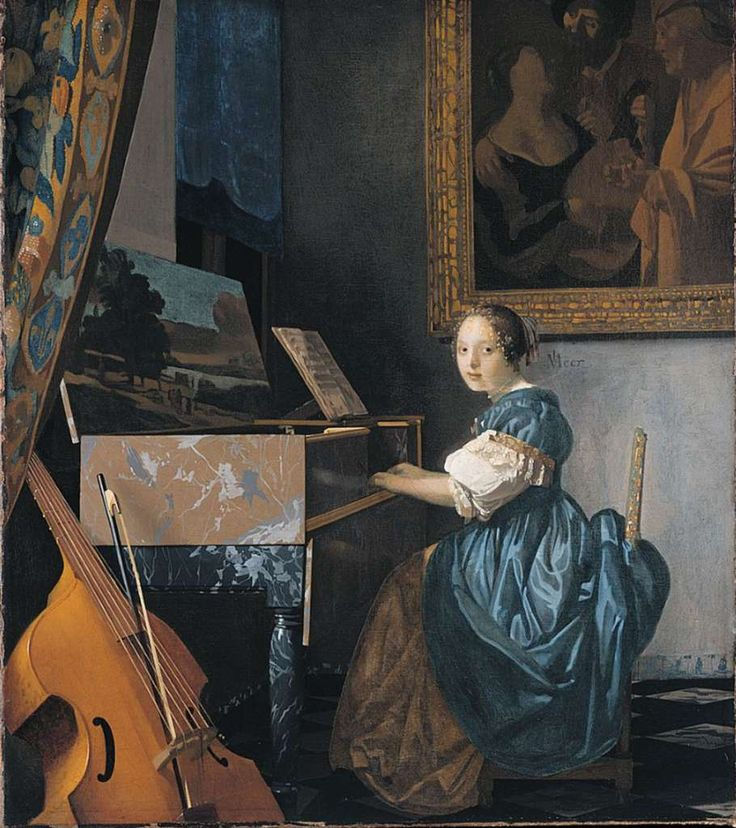 London National Gallery Next 20 11 Jan Vermeer - A Young Woman seated at a Virginal Jan Vermeer - A Young Woman seated at a Virginal, 1670-2, 51.5 x 45.5 cm. The young woman seems to look at us as we enter the room, but keeps on playing the virginal (a keyboard instrument similar to a harpsichord). Propped against the virginal in the left foreground is a viola da gamba with the bow placed in between the strings. The virginal has a landscape painted on the inside of the lid, and the painting in t: Middle Ages Renaissance, Jan Vermeer, Vickie S Art, Vermeer Paintings, Keyboard Instrument