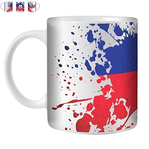 STUFF4 Tasse de Café/Thé 350ml/Haïti/Drapeaux du monde Splat/Céramique Blanche/ST10: Design: Haïti Taille: 350ml Matériel: Céramique Cet…