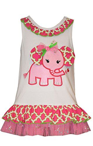 Bonnie Jean Toddler Girls Elephant Appliqued Knit Bubble, Fuchsia, 3T:   Sleeveless knit elephant appliqued drop waist dress
