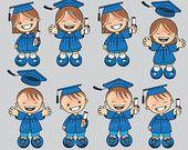 60% desc. Clipart Graduación Azul, clipart escuela, ilustraciones escuela, ilustraciones niños, niños con toga y birrete 033