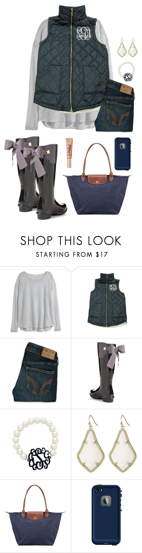 """☔️"" by kat-prepster ❤ liked on Polyvore featuring H&M, Hollister Co., Joules, Kendra Scott, Longchamp and LifeProof"