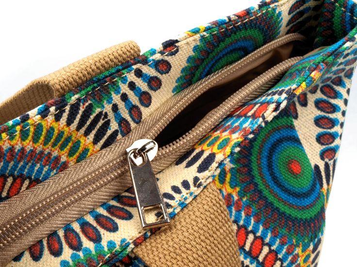 MÓDNÍ TAŠKY A KABELKY | Textilní taška 30x35 cm potisk mandaly - 3 | Vše pro vaši ruční tvorbu (pletení, korálkování, šití...) a její ukázky na prodej