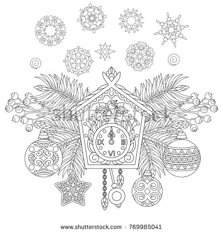 Christmas Coloring Page Holiday Hanging Decorations And Fir Tree