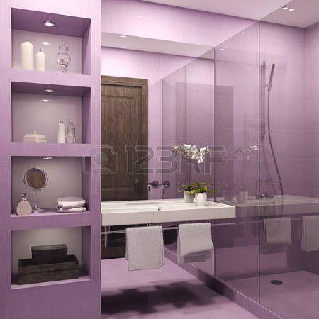 int rieur de salle de bains moderne 3d render banque dimages - Accessoire De Salle De Bain Rose Mauve
