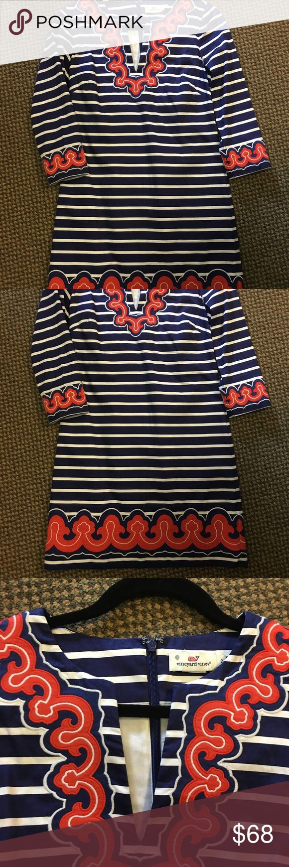 Vineyard Vines Border Print Tunic Dress Navy 2 Style 2Q0380. With nautical stripes and feminine pink printed details, our tunic dresses for women have enough character to speak for themselves. Pair with flat sandals or wedges and you're set for any occasion!  Fabrics: · 96% cotton, 4% spandex  Features: · Center back zipper · Center back length: 34 3/4 (based off size 6) · Imported   Care Instructions: · Machine wash Vineyard Vines Dresses Mini
