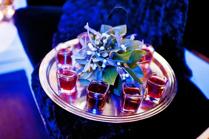 Mistletoe shots // Peppermint schnapps and pomegranate juice