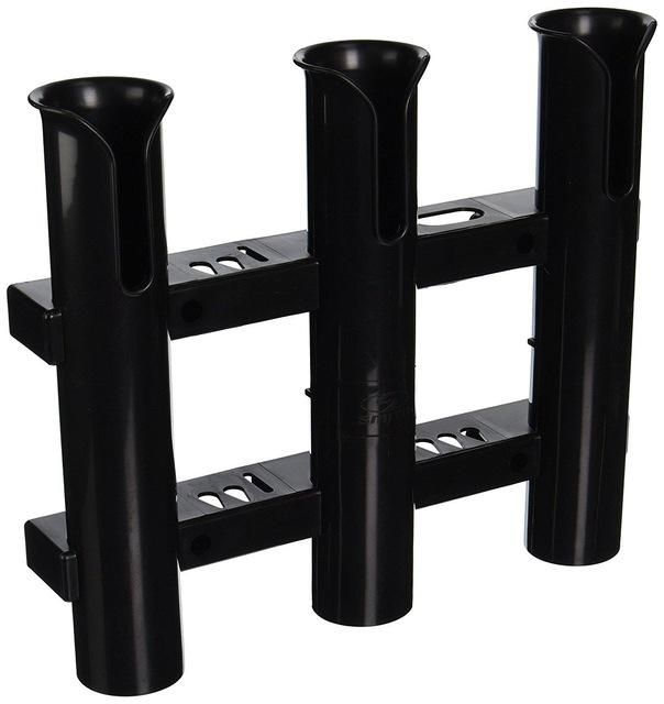 HiUmi 3-Pole Wall Mounted Fishing Rod Holders 3 Tubes Links Fishing Rod Holder Rack Rests