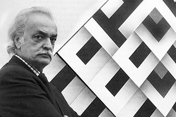 Omar Rayo.  (20 January 1928 – 7 June 2010) was a Colombian painter, sculptor, caricaturist and plastic artist. He won the 1970 Salón de Artistas Colombianos. Rayo worked with abstract geometry primarily employing black, white and red. He was part of the Op Art movement. Rayo's work shows that geometric art is as much a part of the past as it is of the future. He used traces of the past to discover new ways to present visual and geometric sketches.
